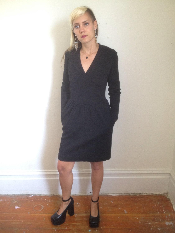 80s Black Liz Claiborne Wool Wrap Dress size 8