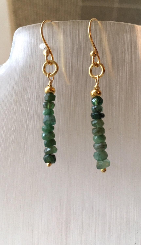 Earrings Emerald drop earings Gold plated 925 Sterling Silver hook and findings Green earrings Genuine gem stones Hand made
