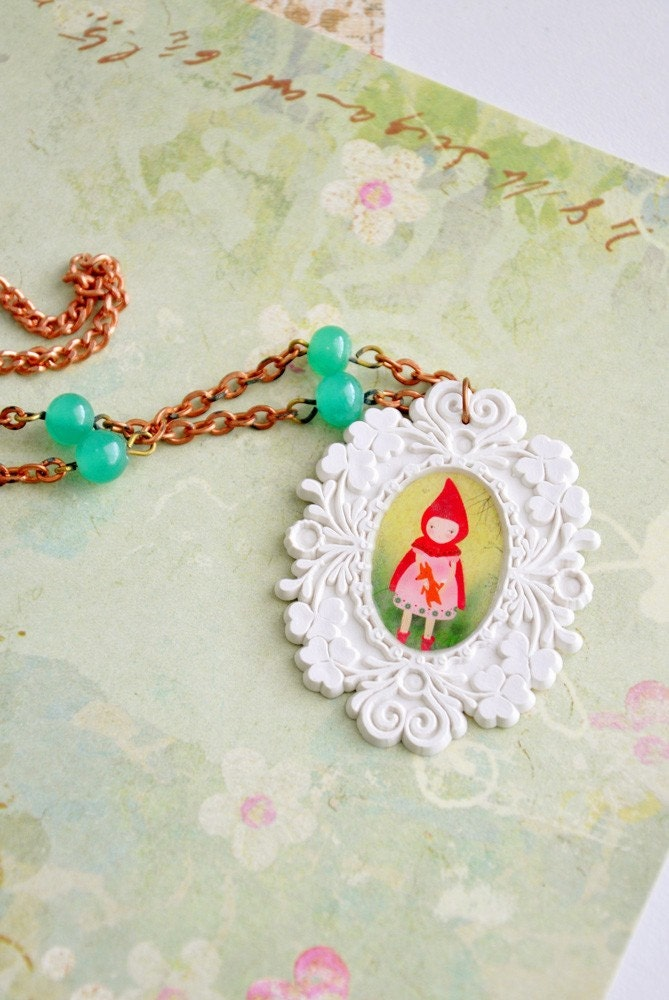 Little red riding hood brocade cameo necklace