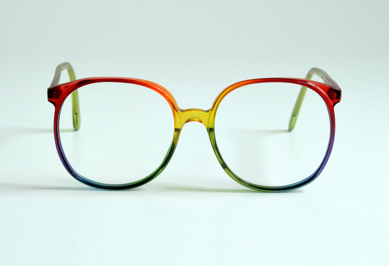 80s Oversized RAINBOW Glasses Round Plastic Eyeglasses Frames