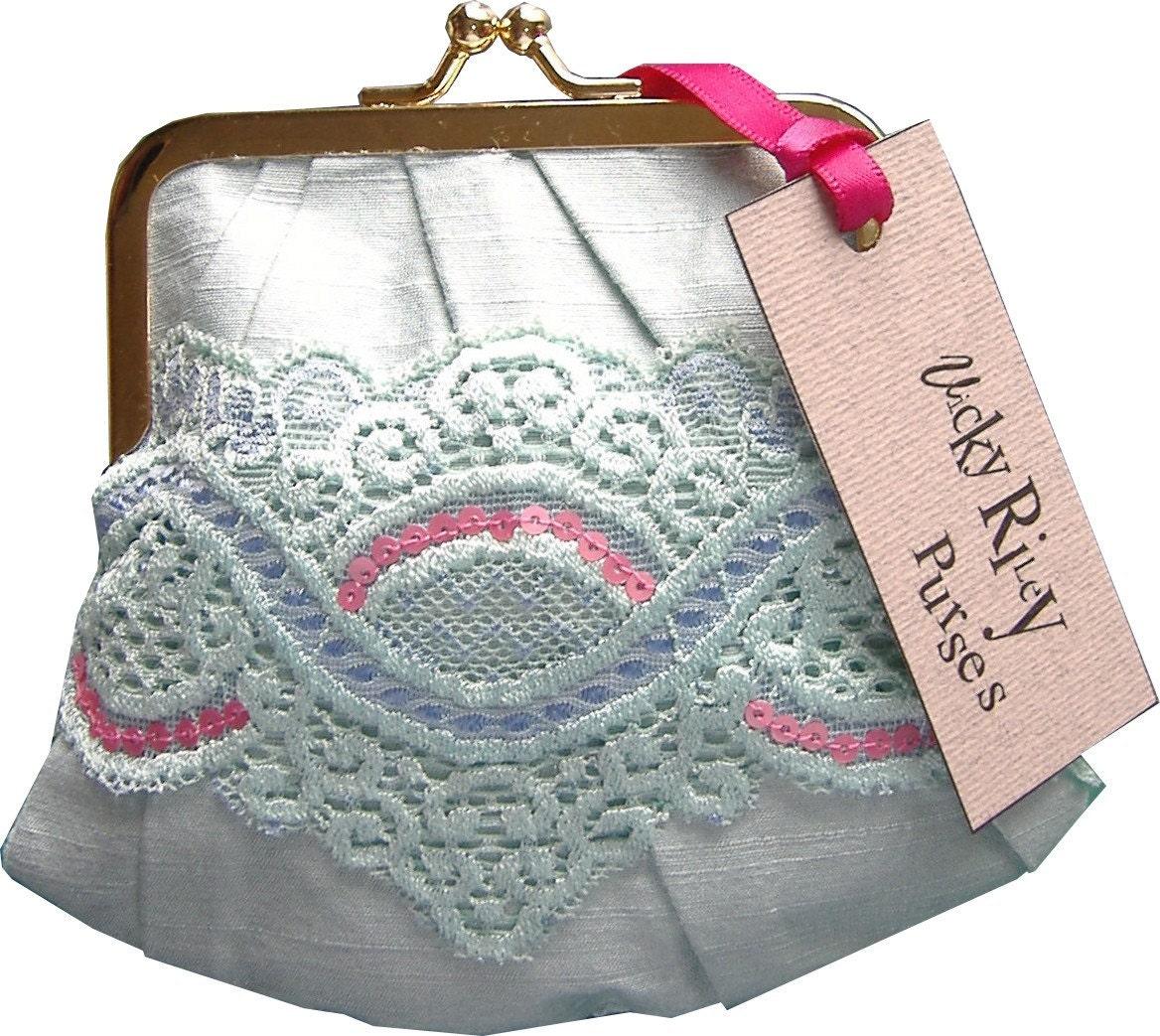 Lace and Pink Sequin Purse