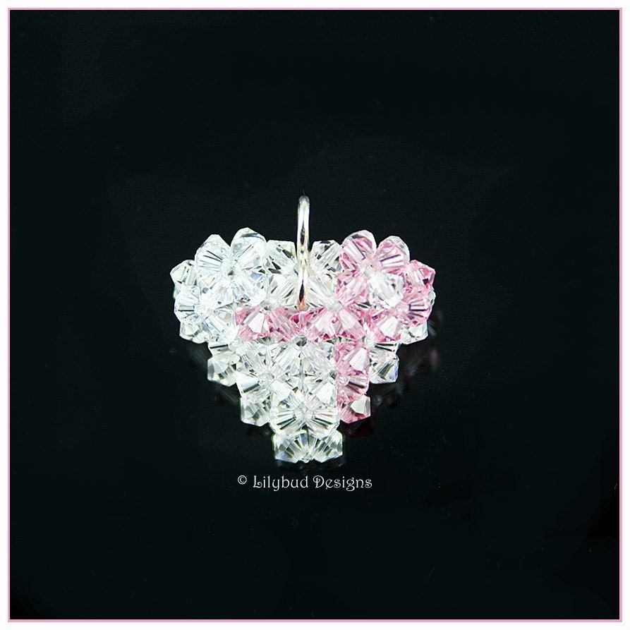 Crystal Breast Cancer Ribbon Heart Pendant