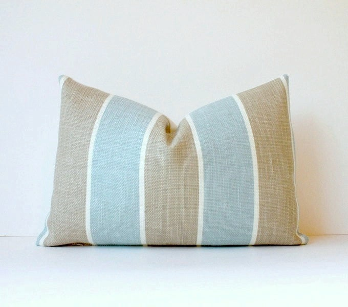 Striped Decorative Designer Pillow Cover 12x18 Robins Egg Blue. Lumbar Cushion. Nautical Pastel sky taupe tan - WhitlockandCo