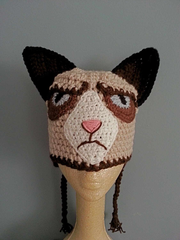 Grumpy Cat Crochet Hat Pattern Free : Crochet Grumpy Cat Hat Images & Pictures - Becuo