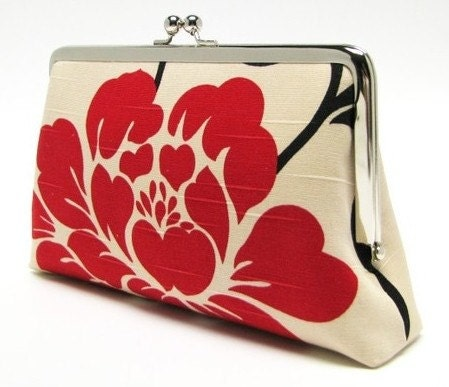Bridesmaids gifts - 5 pockets, 8 in -  Red  flowers