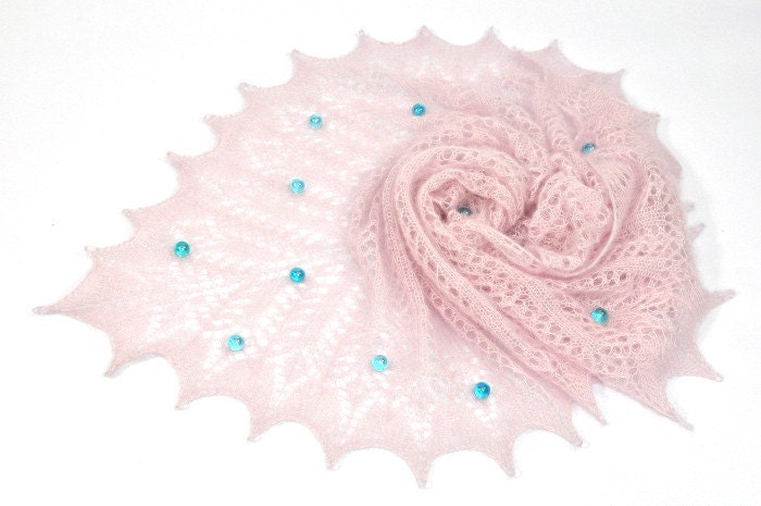 Old Lace - Pale Pink hand knitted luxurious kid mohair and silk lace shawl, stole, scarf - aboutCRAFTS