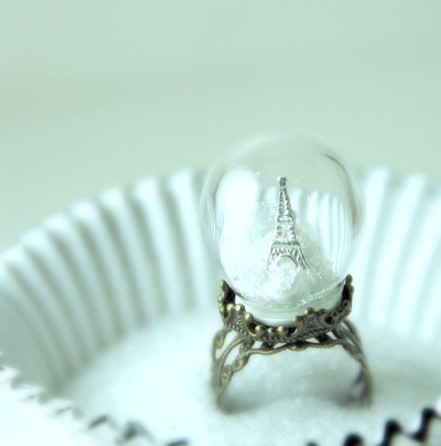Winter in Paris Glass Globe Ring
