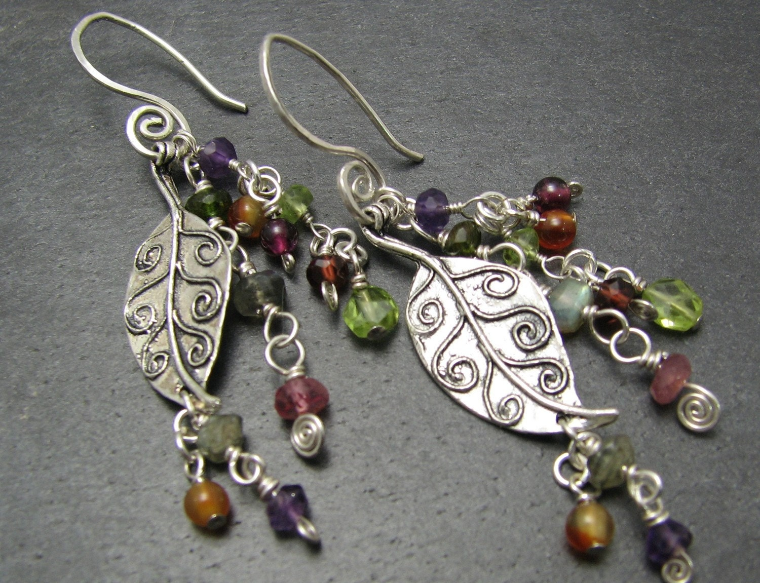 Falling leaves sterling earrings with tiny tourmaline, peridot, amethyst, labradorite, garnet, carnelian gemstones