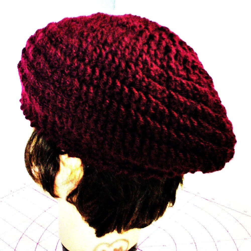Wholesale Slouchy Crochet Beret in Aubergine by strawberrycouture