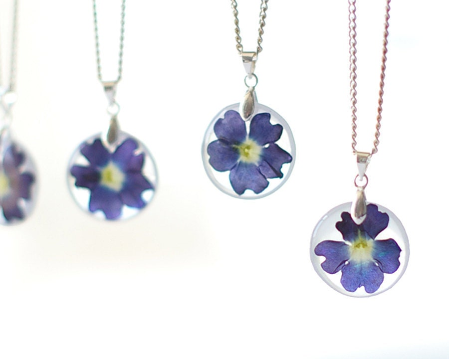 Real Flowers Bridesmaids Necklace 1 pcs. - Blue Wedding Bridesmaid gifts - Vervain Verbena - UralNature