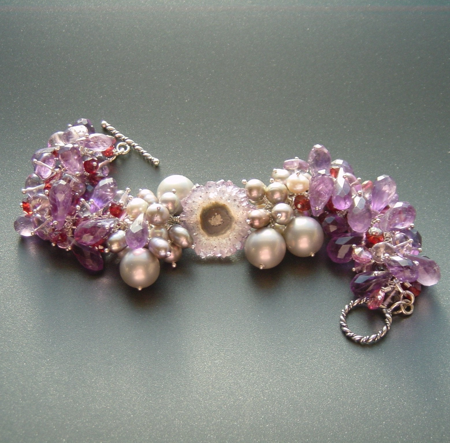 Leila Bracelet - Amethyst, Pink Topaz, Rubellite Garnet and Pearls with Amethyst Stalactite Feature Bead