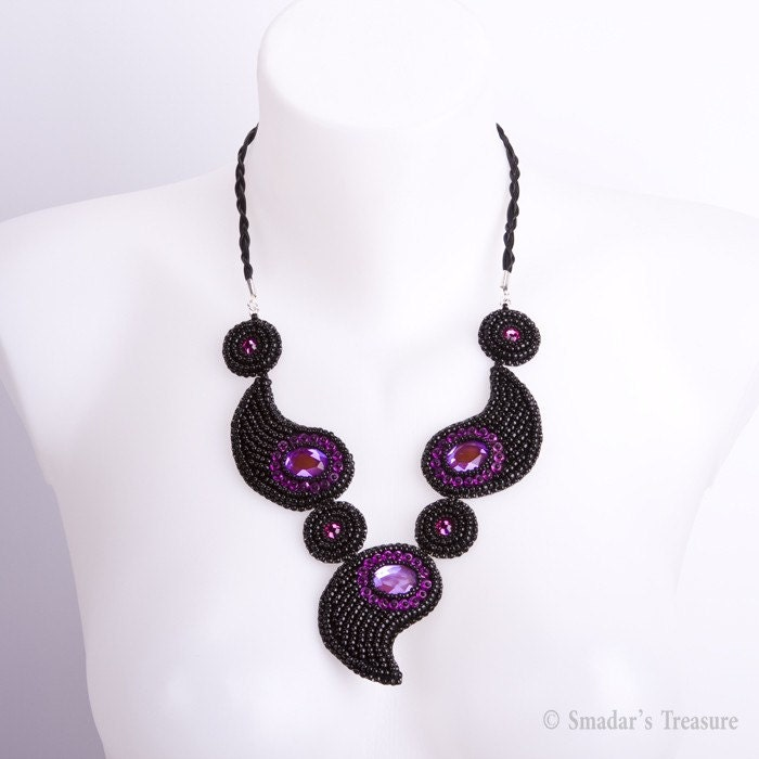 Bold Black and Pink Paisley Necklace