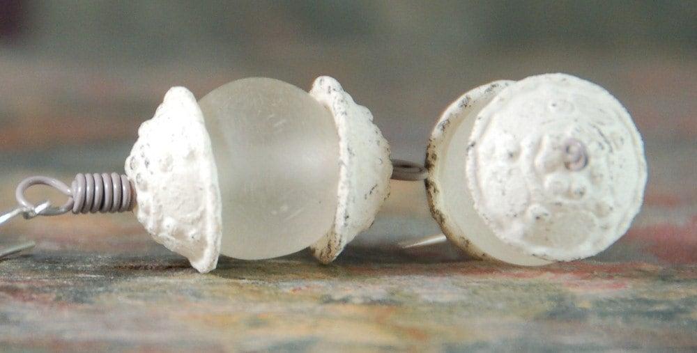 Vintage Distressed Cap Earrings