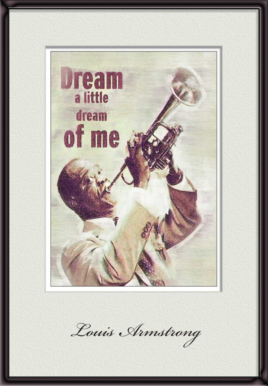 Louis  Daniel Armstrong American jazz trumpeter - limited edition poster - size 11,69 X 16,535 inches