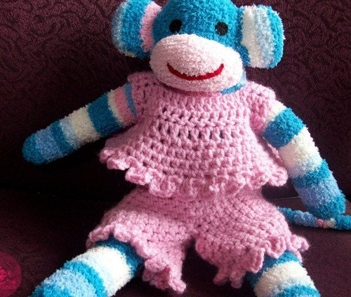 Crochet shirt and pants set  for your Sock monkey  READY TO SHIP