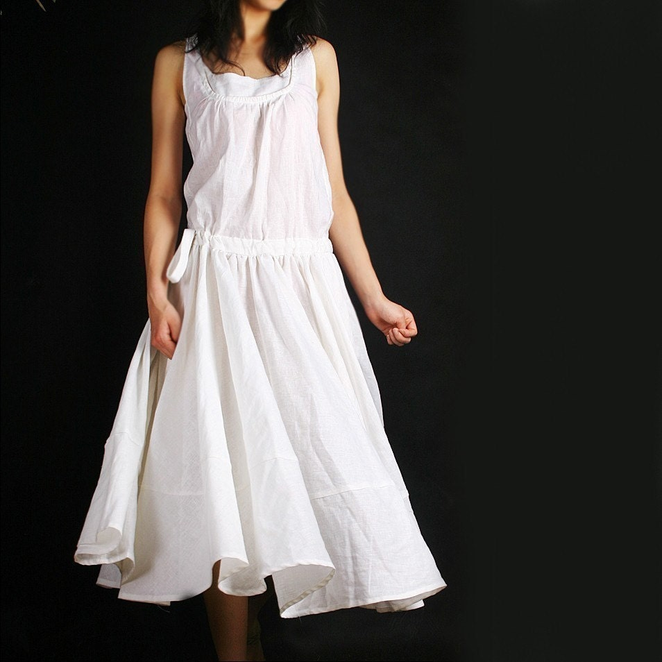 LESS IS MORE linen sleeveless long dress pure white(Q1021)