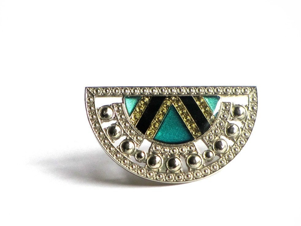 Vintage Pierre Bex Art Deco Revival Pin, Enamel Teal and Silver Brooch, Collar Brooch, Lapel Pin - recreated1