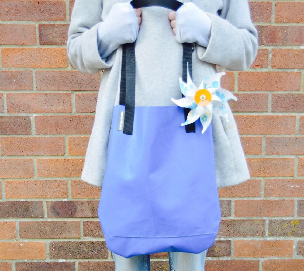 Handmade in UK Baby Pastel Blue Recycled Bouncy Castle Vinyl PVC Eco Friendly Tote Bag
