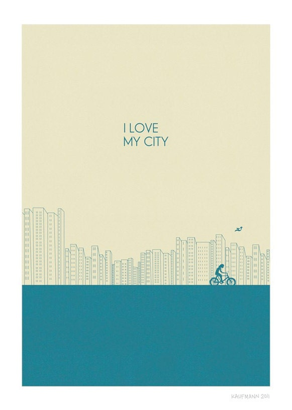 I love my city Print l Blue - Different Sizes - JudyKaufmann