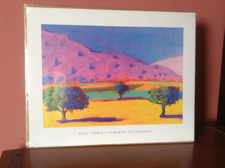 "Paul Powis ""Summer Afternoon"" neon pastel print landscape poster mint"