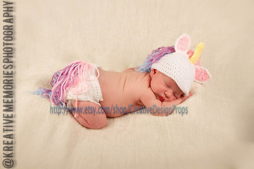 Crochet Unicorn Outfit : Crochet My Little Unicorn newborn baby set diaper cover and hat ...