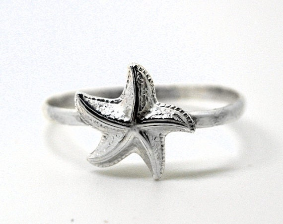 sterling silver starfish ring handforged ring by fifthheaven