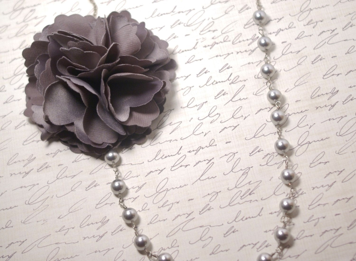 Silver Pearl and Grey Flower Necklace