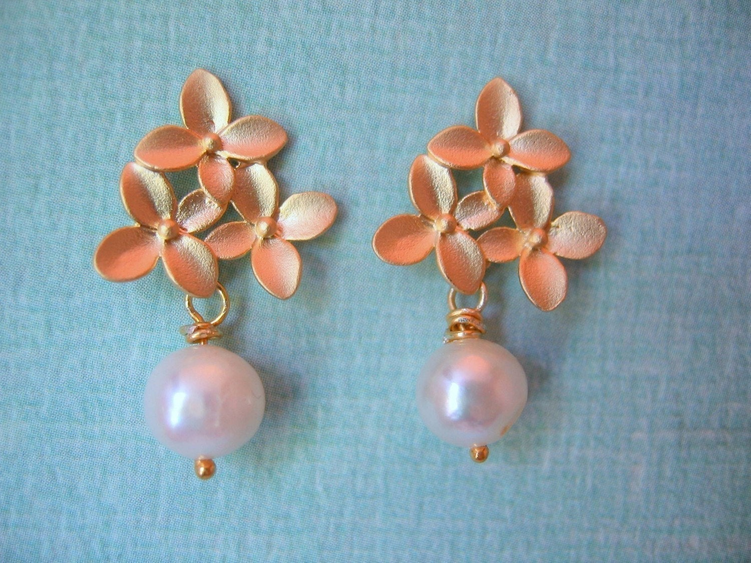 Three Flowers and Pearl Post Earrings