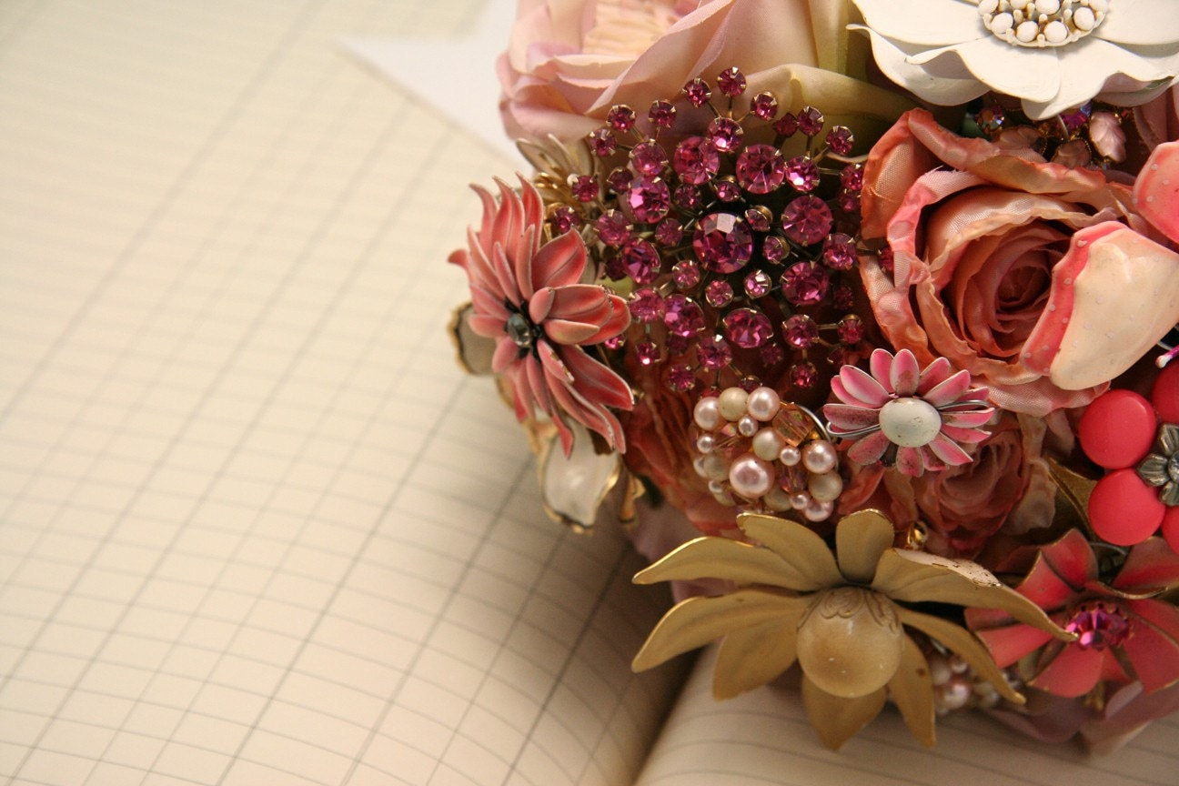 Vintage Brooch Bouquet - Handmade Peonies and Brooches - Made to order