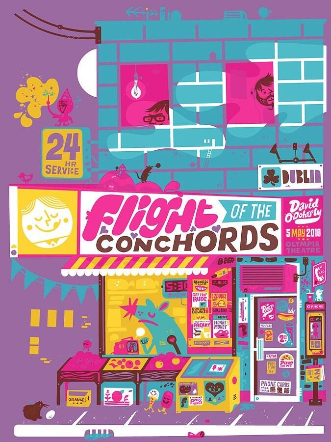 Flight of the Conchords silkscreen poster