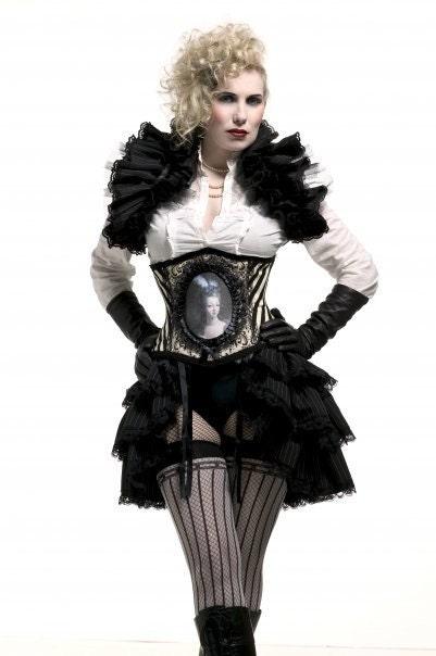DARKLY NOON Steampunk Gothic Pinstripe Diva Shrug