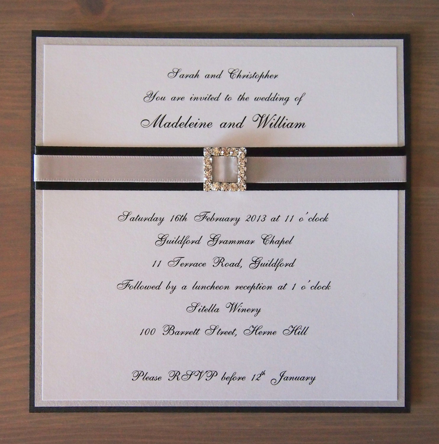 Items similar to black and silver bling wedding invitation for Black and white bling wedding invitations
