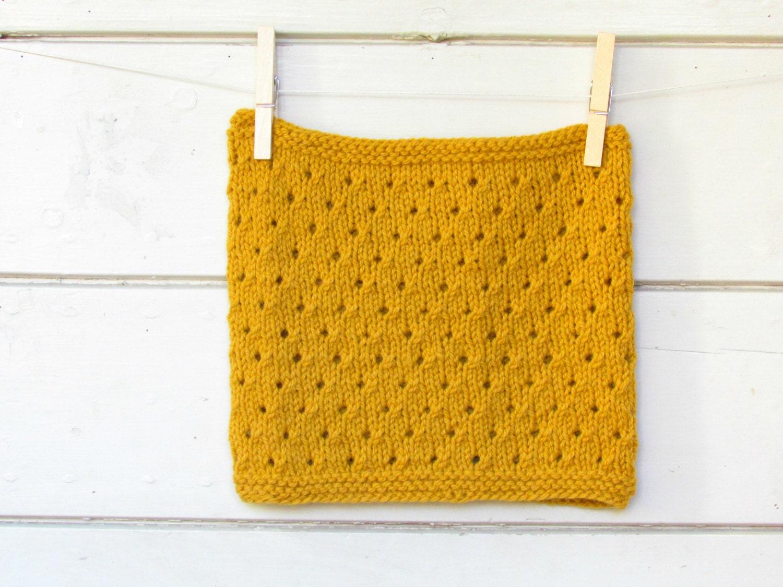 Mustard Cowl - Chunky mustard polka dot hole - luxury alpaca -  fall fashion accessory  - Block color - unisex - theYarnKitchen