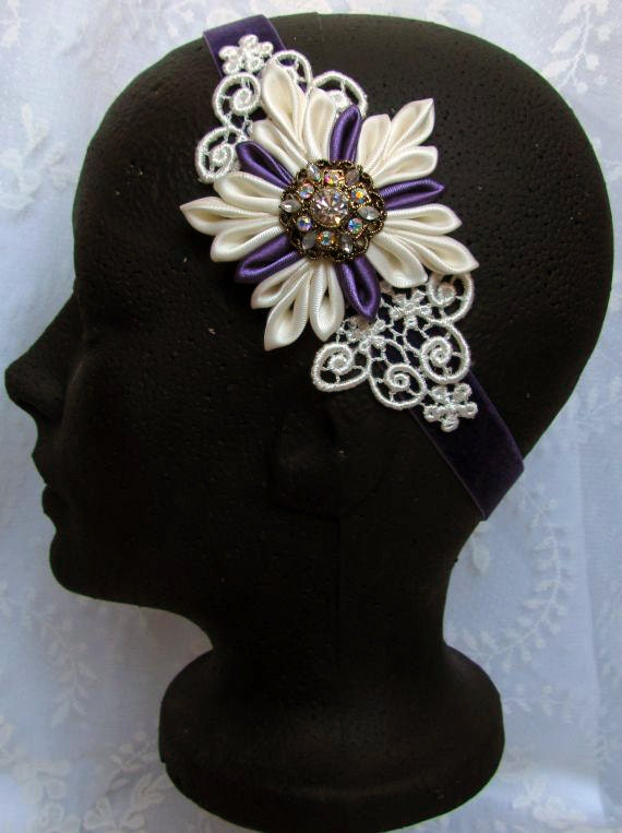 Bande de cheveux de mariage flocon de neige, fleur Kanzashi serre-tête, bandeau de velours pourpre, postiche mariée dentelle Ivoire bandeau