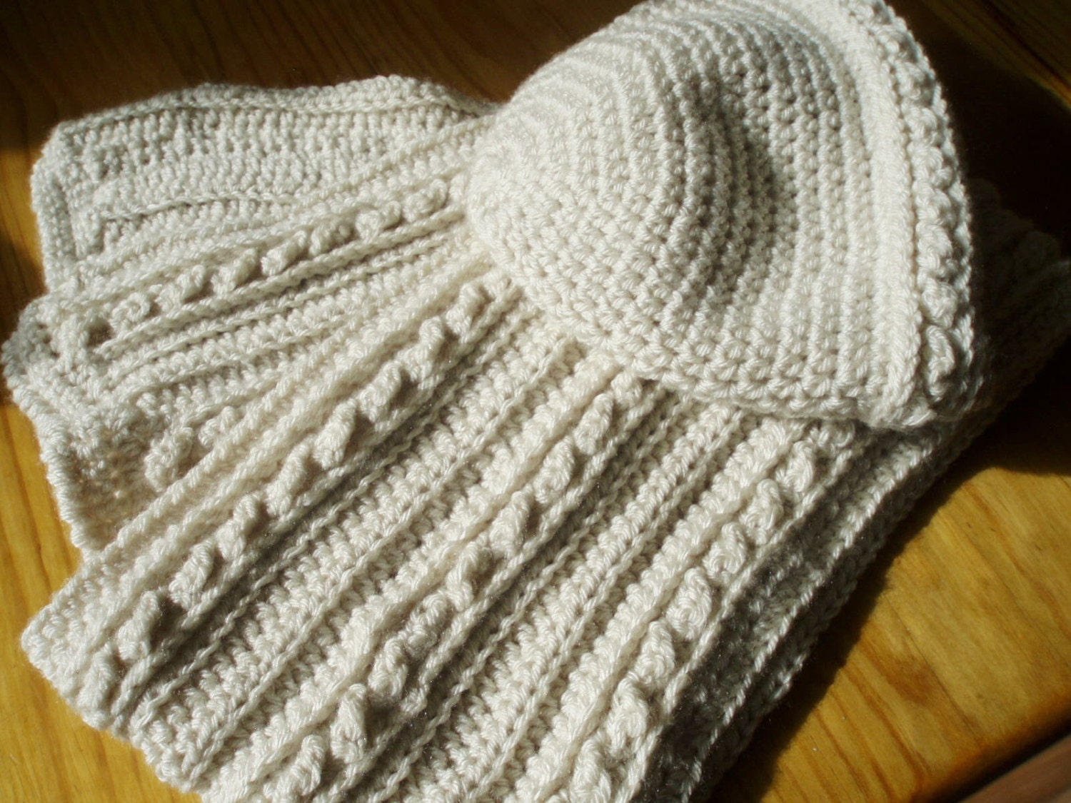 Crochet Mens Scarf : Mens or Womens Cabled Scarf and Hat Crochet by JennyPetersPatterns