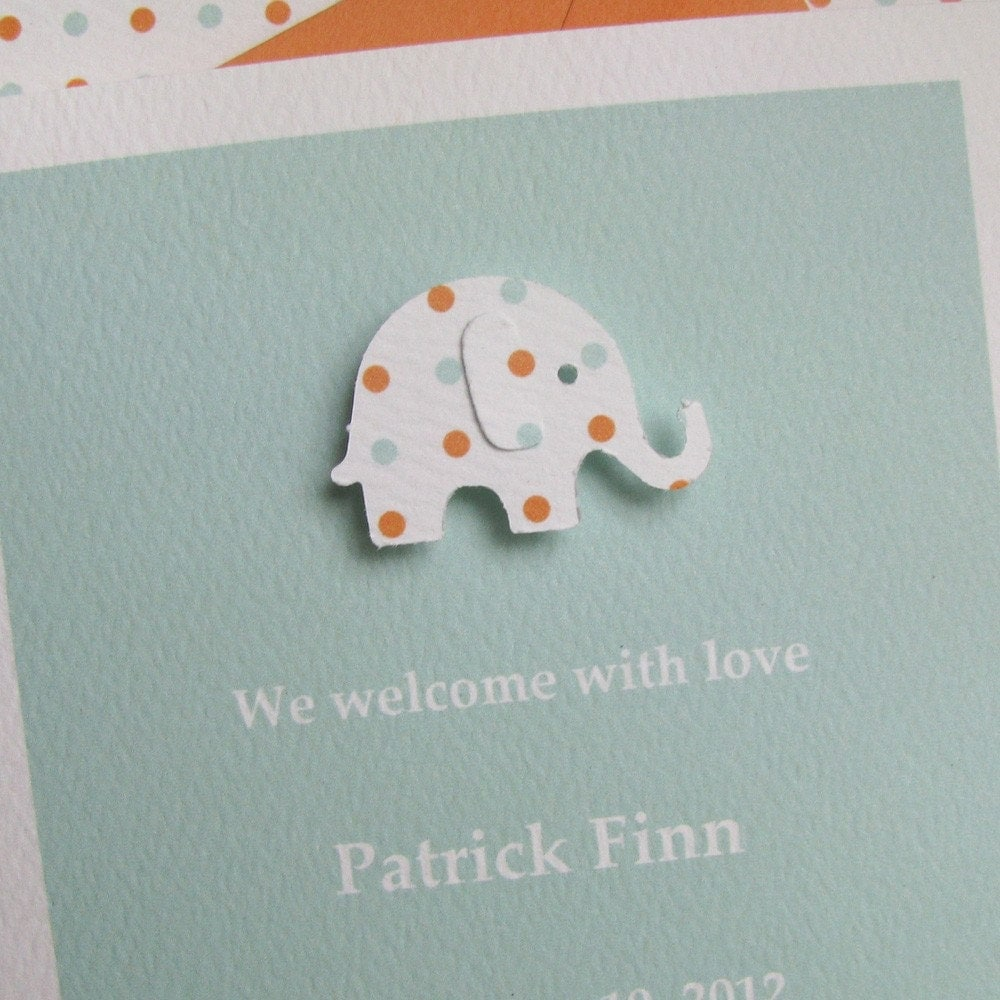 recycled custom birth announcement or baby shower invitation - seafoam and orange dot elephant on seafoam textured stock
