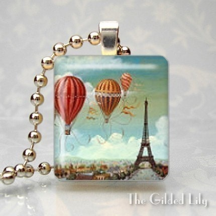 EIFFEL TOWER - PARIS FRANCE - Scrabble Tile Pendant - (Style O52)