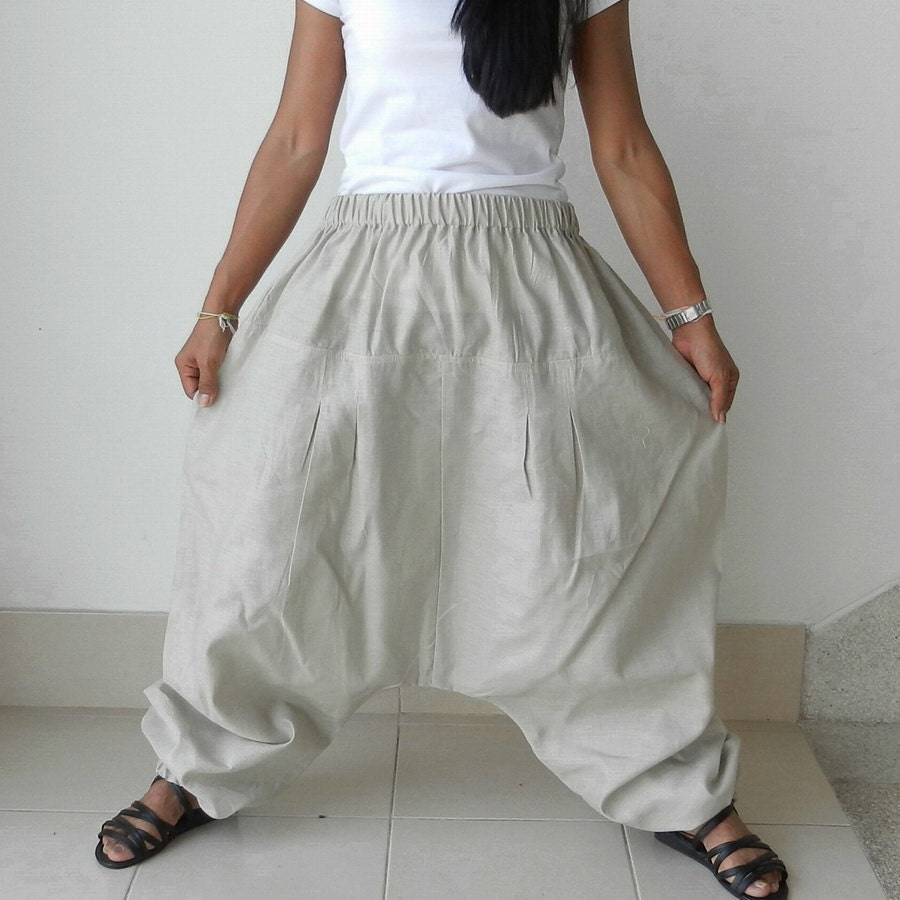 Ninja Pants Linen Cotton Natural Beige Color By Thaisaket