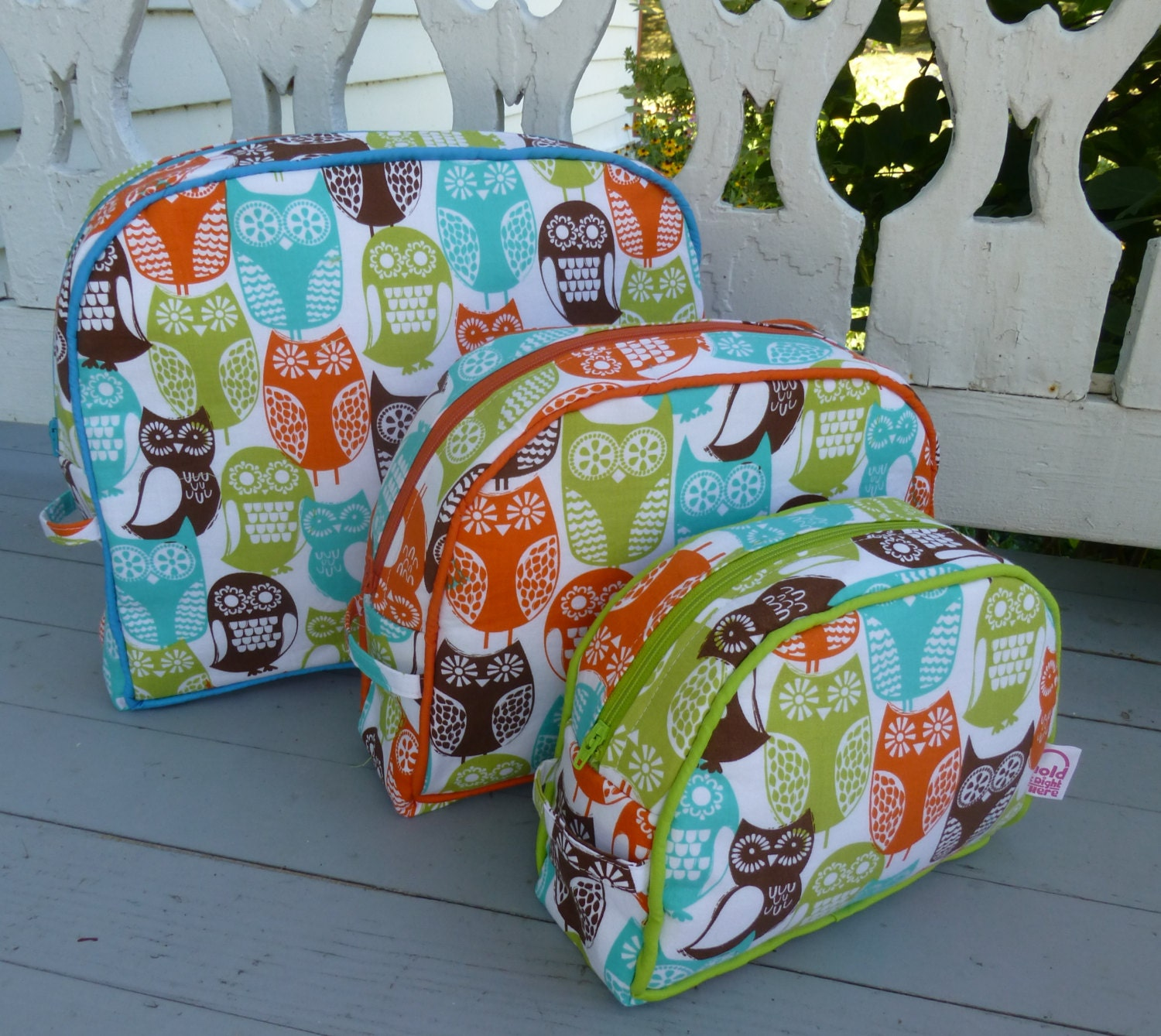 3 COSMETIC BAGS  -  Michael Miller - Swedish Owls Print  - Vinyl interior - Pockets and bound seams - Zippers and piping in matching colors - HolditRightThereBags