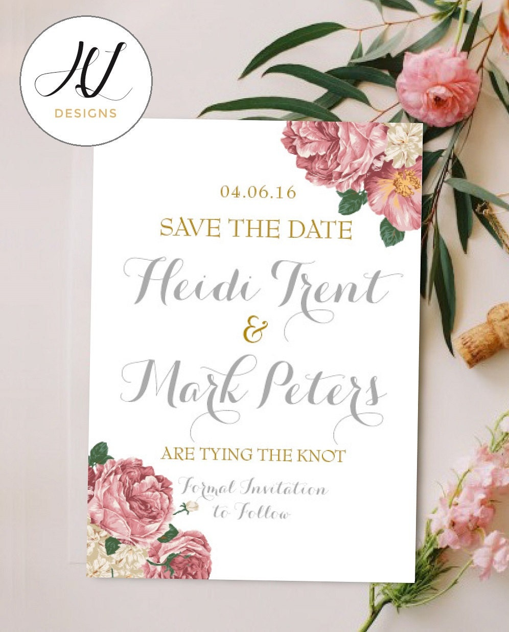 Personalised Printable Card SavetheDate Card Save the Date Heidi Collection PDF