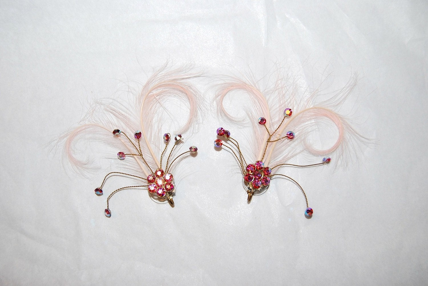 Vintage Pink Feather and Rhinestone Earrings