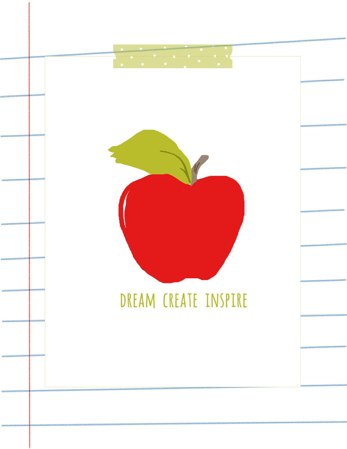 Art Print - Back to School Art - Apple Art-  - Teachers Gift - RoseHillDesignStudio