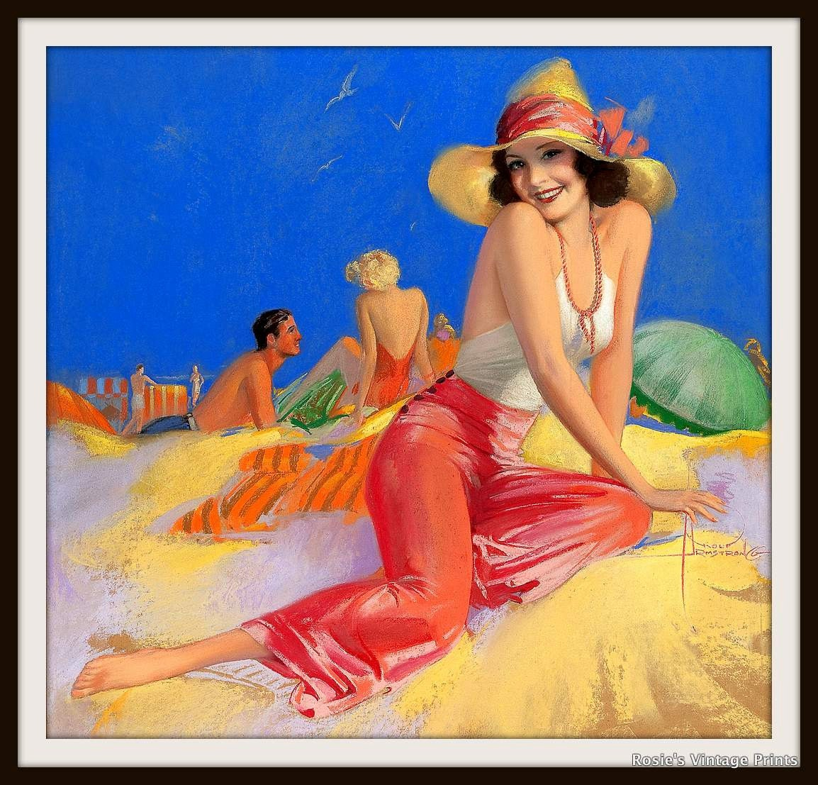Cute Girl on Beach Vintage PINUP GIRL by Rolf Armstrong circa 1930- Giclee Fine Art Print