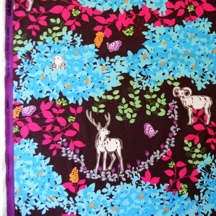 Echino Fabric - Woodland - Burgundy - BelloBerryFabricShop