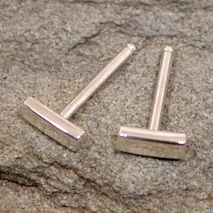 Tiny bar studs 5mm rectangle sterling silver post by sarantos