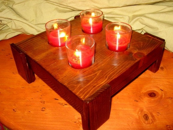 Reclaimed Pine Candle Holder. Notice the wrap around legs.