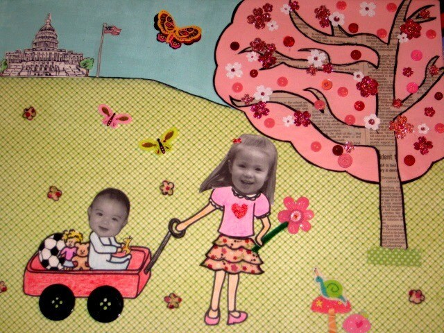 Sister and Brother Wagon Ride 16x20 Custom Collage with photos