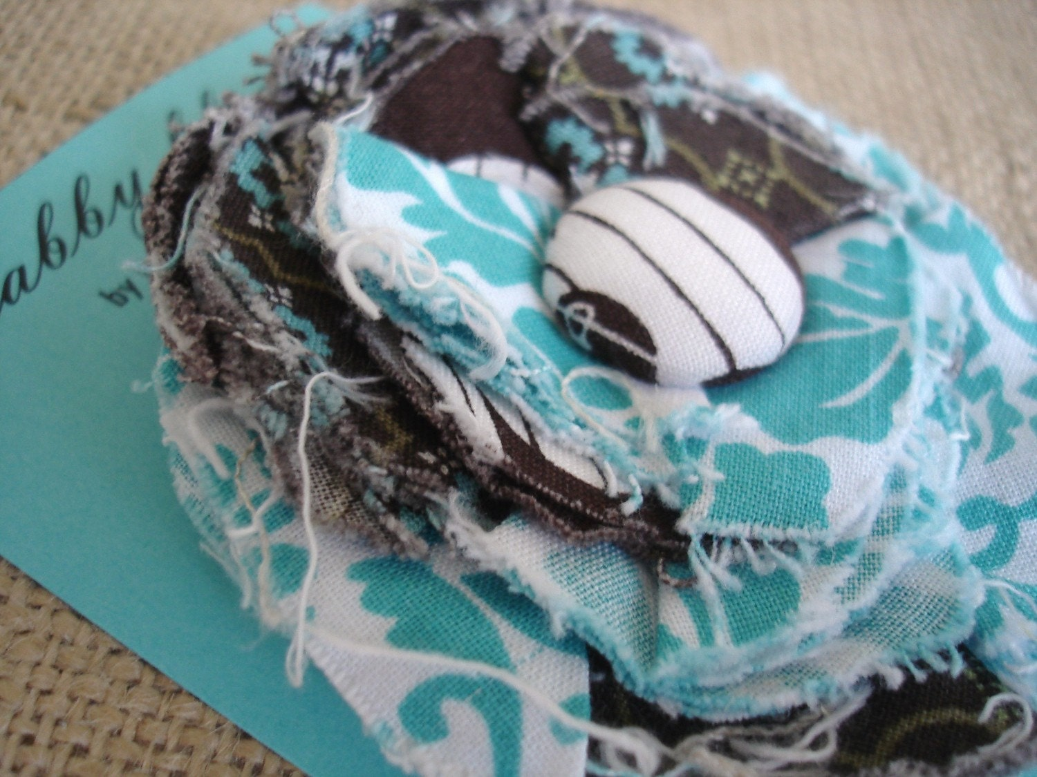 Shabby Blooms-Fabric Flower Accessories by burlap and blue