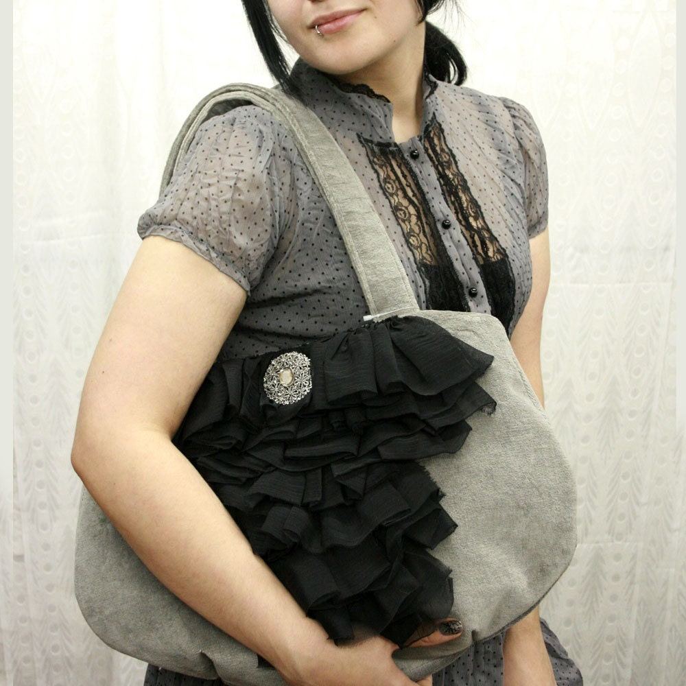 Black Victorian Ruffled Handbag