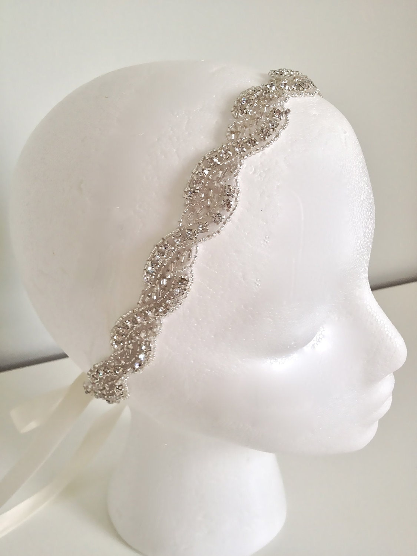 WAVERLY Bridal Crystal Headband Crystal Ribbon By LiveAdorned